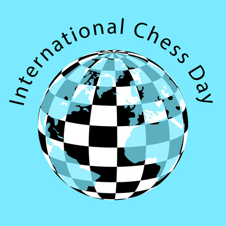 International Chess Day.  Concept of a game event. Planet with a checkerboard pattern and continents Illustration
