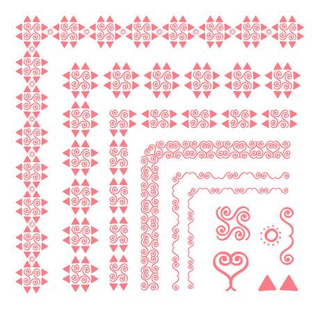 Set of decorative seamless ornamental border with corner. Separate ornamentation elements. Pink color. For children, women, wedding, holiday Illustration