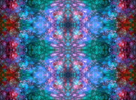 Symmetrical fractal abstraction. Simulates the texture of minerals. Seamless pattern. Red, violet and blue colors