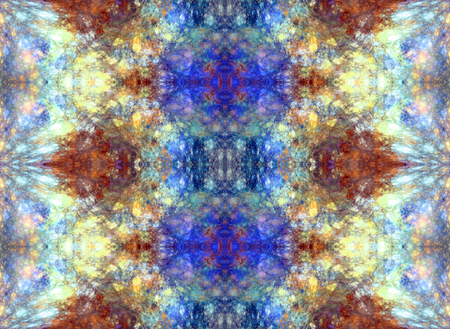 Symmetrical fractal abstraction. Simulates the texture of minerals. Seamless pattern. Brown and blue colors Banco de Imagens