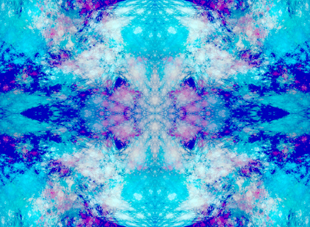 Symmetrical fractal abstraction. Simulates the texture of minerals. Seamless pattern. Shades of blue