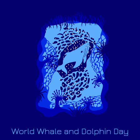 World Whale and Dolphin Day. Concept of ecological holiday. View from an underwater cave - plants, corals, whale