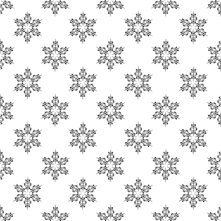Snowflakes in ethnic style. Seamless pattern. Uniform chess compact layout. Small items. For winter, New Year, Christmas projects