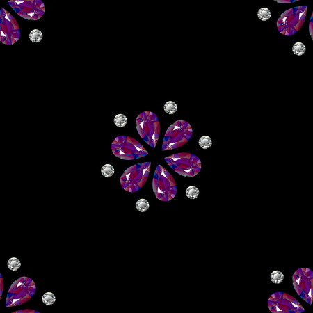 Flowers from precious stones. Seamless Pattern. Jewelry. For shops, websites fabrics packaging. Black background Illustration