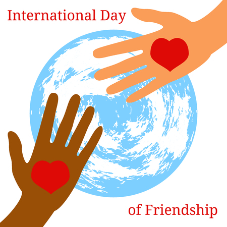 International Day of Friendship. Concept of a peaceful holiday. Hands of people of different nationalities. They stretch out to each other, give heart. Planet Earth on the background.  イラスト・ベクター素材