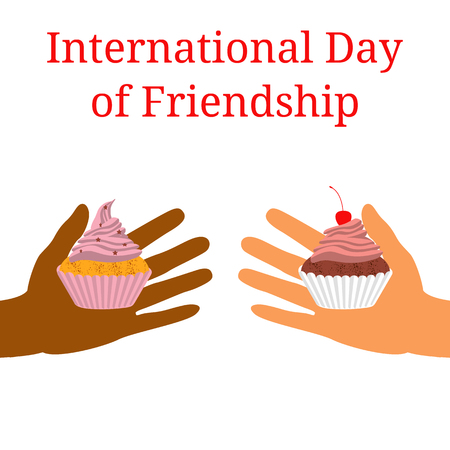International Day of Friendship. Concept of a peaceful holiday. Hands of people of different nationalities. They stretch out to each other, give cake.  イラスト・ベクター素材