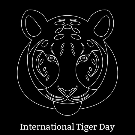 International Tiger Day.  The concept of an ecological holiday. Wild mammal is an animal. Linear style