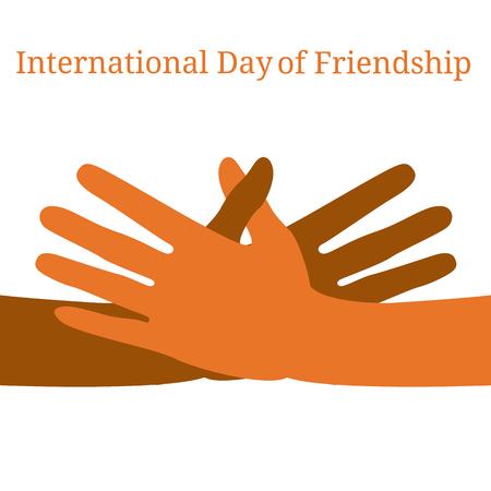 Internationale dag van de vriendschap. Concept van een rustige vakantie. Handen van mensen van verschillende nationaliteiten. Ze strekken zich uit om een handdruk te maken.