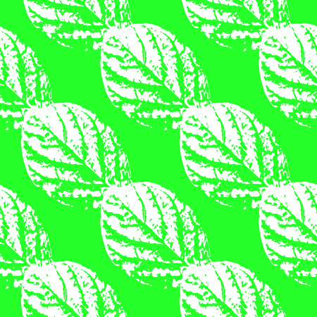 Prints of leaves of trees. Seamless pattern. White elements, green background