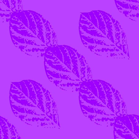 Prints of leaves of trees. Seamless pattern. Violet elements, lilac background Çizim