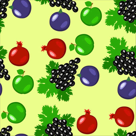 Fruits - apples, grapes, pomegranate, figs Seamless pattern Light green background