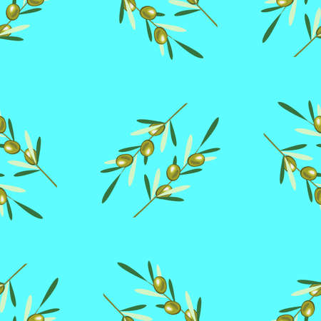 Branches of olive tree. Seamless pattern. Green olive fruit, leaves. Blue background