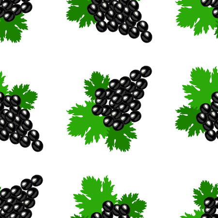 Bunch of grapes. Seamless pattern White background