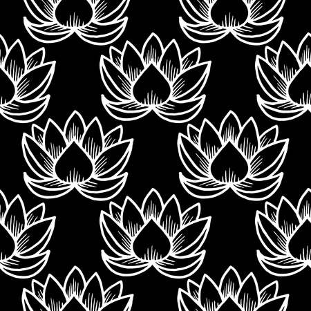 Lotus. Seamless pattern. Oriental Indian Chinese Traditional. White and black
