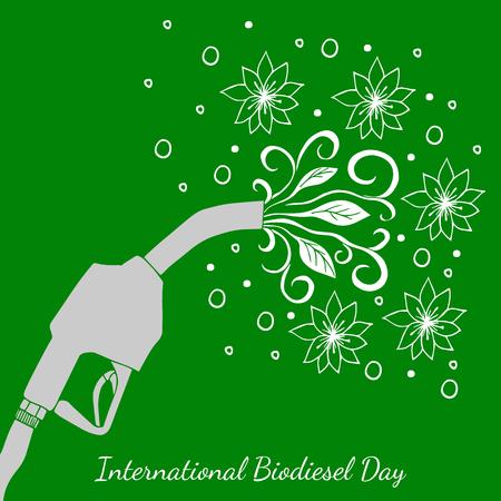 Journée internationale du biodiesel. Concept de vacances écologiques. 10 août. Pistolet de ravitaillement d'où s'écoulent les feuilles et les fleurs. Dessin à main levée. Fond vert Vecteurs