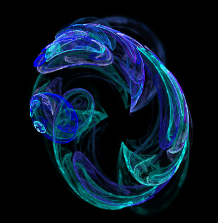 Fractal abstraction. Glowing spiral shape, black background Stock Photo