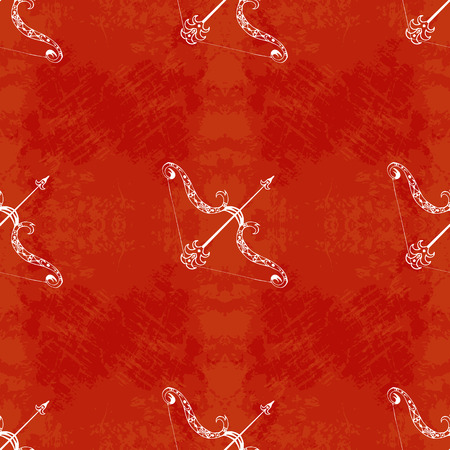 Dussehra, Navratri festival in India. 10-19 October. The concept of a Hindu holiday. Bow and arrow of Lord Rama. Seamless Pattern. Grunge background. Hand drawing