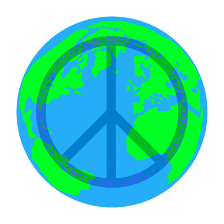 International Peace Day. Concept of a social holiday. A sign of the Pacific. Planet Earth Ilustrace