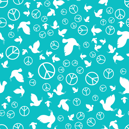 International Peace Day. Concept of a social holiday. White dove with olive branch. A sign of the Pacific. Seamless Pattern Illustration