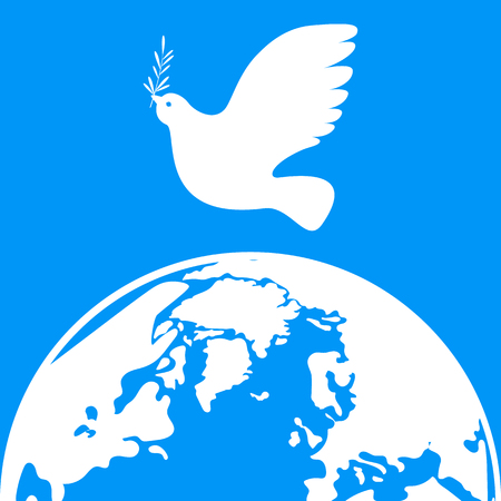 International Peace Day. Concept of a social holiday. White dove with olive branch. White Planet Earth.
