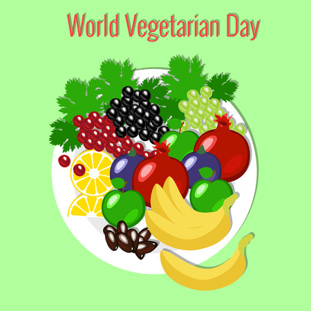 World Vegetarian Day. Food event concept. Fruit picnic - plate, flowers, apple pomegranate dates grapes banana figs lemon