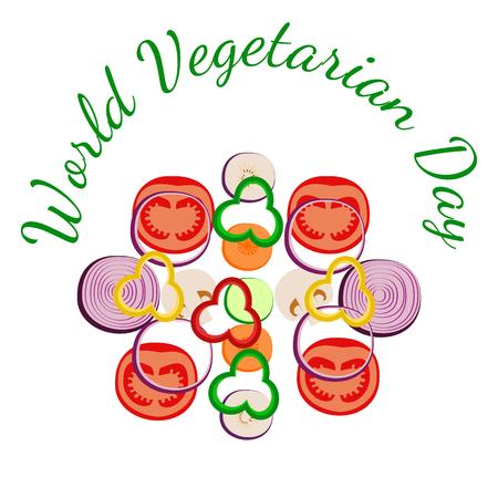World Vegetarian Day. Food event concept. Vegetables sliced. Zucchini, carrot, onion, tomato bell pepper mushroom eggplant