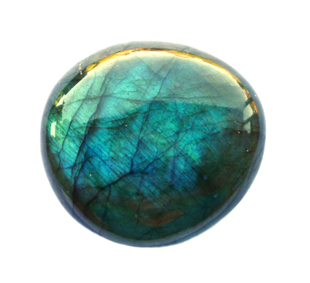 Labradorite mineral round Gemstone. Shiny, layered. Isolated on white background