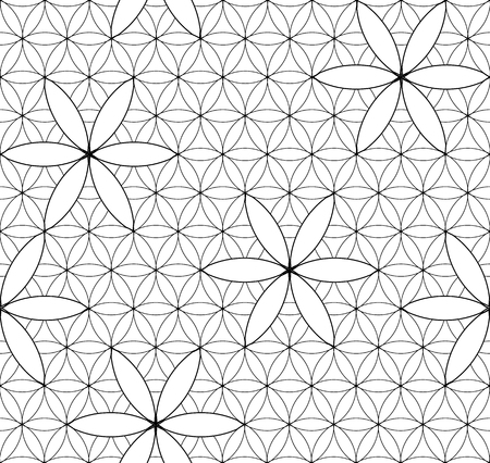 Flower of Life. Sacred geometry. Seamless pattern. Black and white Illusztráció