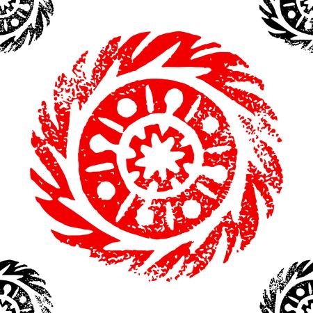 Ethnic, tribal, native circle, mandala. Hand drawn linocut. Geometric seamless pattern. African mexican indian oriental ornament