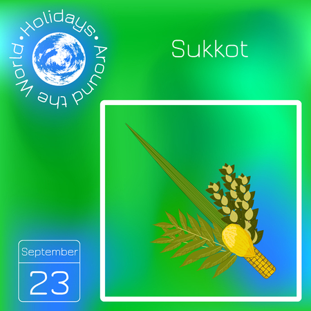 Sukkot. Concept of Judaic holiday. Traditional symbols - Etrog, lulav, hadas, arava. Calendar. Holidays Around the World. Event of each day. Green blur background - name, date illustration Illustration