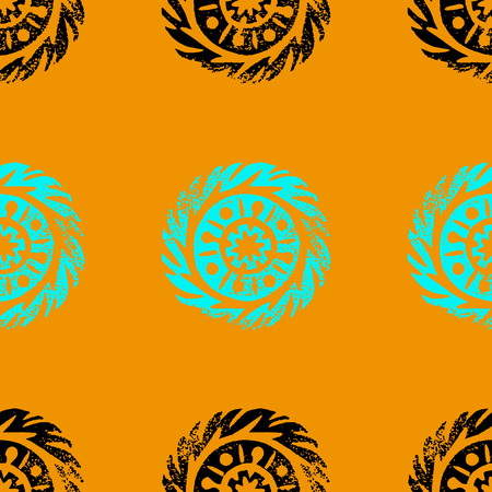 Ethnic, tribal, native circle, mandala. Hand drawn linocut. Geometric seamless pattern. African mexican indian oriental ornament. Turmeric color background
