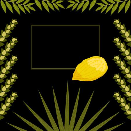 Sukkot. Concept of Judaic holiday. Traditional symbols - Etrog, lulav, hadas, arava. Frame for your text. Black background