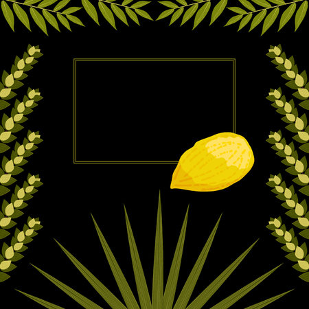 Sukkot. Concept of Judaic holiday. Traditional symbols - Etrog, lulav, hadas, arava. Frame for your text. Black background