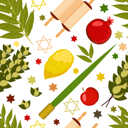 Sukkot. Concept of Judaic holiday. Traditional symbols - Etrog, lulav, hadas, arava. Torah scroll. Apple, pomegranate figs Star of David Seamless Pattern