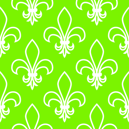 Seamless pattern. Fleur de flis. Linear vector graphics. Geometric symmetrical drawing. Green background.