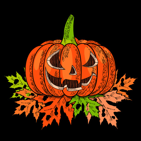Halloween. 31 October. The concept of a holiday. A pumpkin with a carved terrible face, autumn leaves with holes. Drawing style engraving