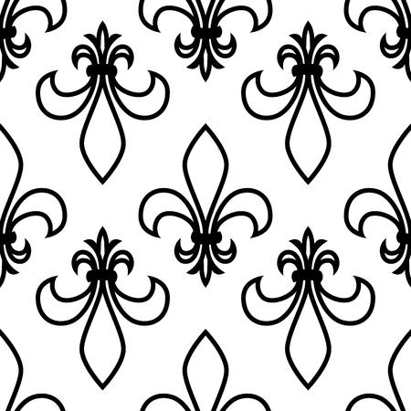 Seamless pattern. Fleur de lis. Linear vector graphics. Geometric symmetrical drawing. White background. Illusztráció