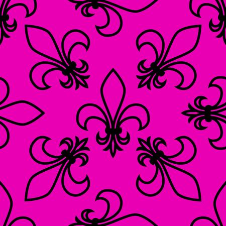 Seamless pattern. Fleur de lis. Linear vector graphics. Geometric symmetrical drawing. Pink background. Illusztráció