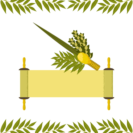 Sukkot. Concept of Judaic holiday. Traditional symbols - Etrog, lulav, hadas, arava Torah scroll