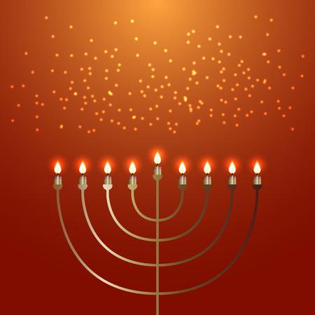 Hanukkah. 2-10 December. Concept of Judaic holiday. Traditional symbol Menorah