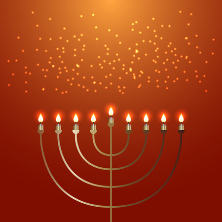 Hanukkah. 2-10 December. Concept of Judaic holiday. Traditional symbol Menorah