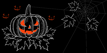 Halloween. 31 October. The concept of a holiday. A pumpkin with a carved terrible face, autumn leaves with holes, spiderweb. Glow inside. Horizontal location. Drawing style engraving. Black and white