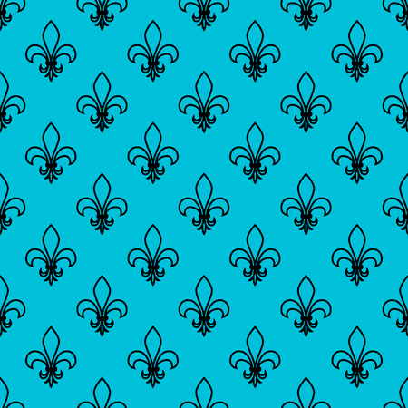 Seamless pattern. Fleur de lis. Linear vector graphics. Geometric symmetrical drawing. Blue background.