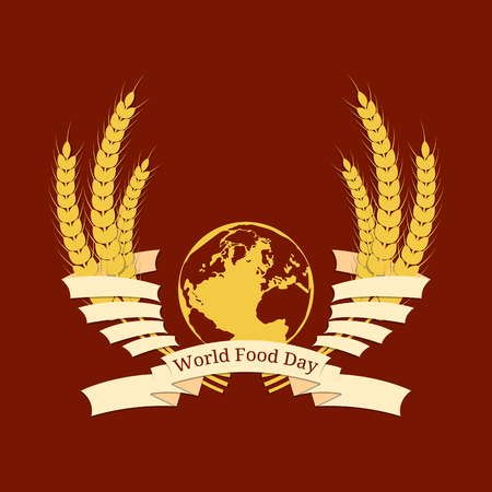World Food Day. Concept of a social holiday. Planet Earth, rye ears, ribbon, event name. Illustration