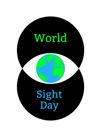 World Sight Day. Concept of a holiday of health. Symbolic image of the eye. Iris is the planet Earth. Two intersecting circles forming the eye