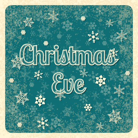 Christmas Eve. 24 December. Concept of a Christian holiday. Vintage grunge background with snowflakes. Event name