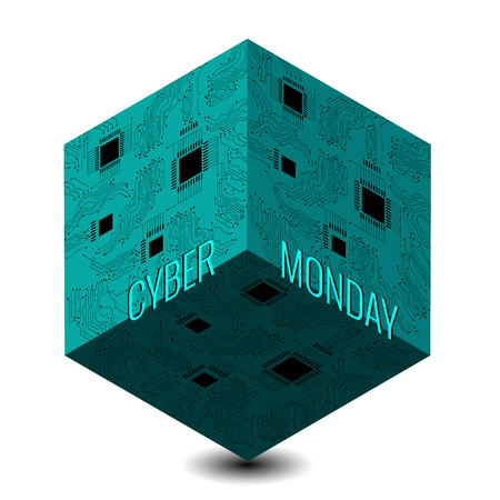 Cyber Monday. Concept discount day in online stores. Abstract techno 3D cube, event name, illustration of a microcircuit.