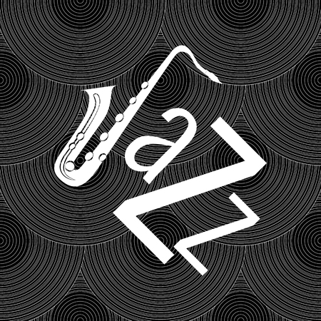 Jazz concept. Vinyl record and the word Jazz. Letter J - saxophone. Seamless pattern Illustration