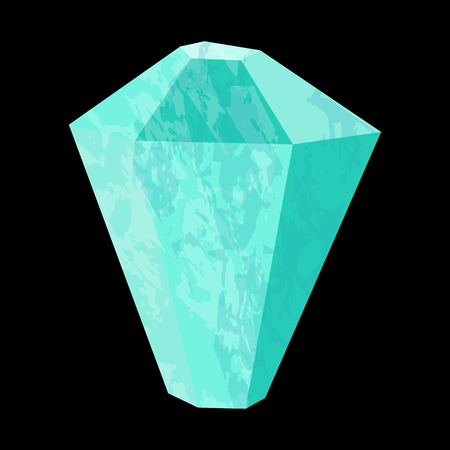 Aquamarine. Precious stone, gemstone, mineral. Translucent crystal. Texture of layers and facets of stone. Geology mining science jewelry background Ilustrace