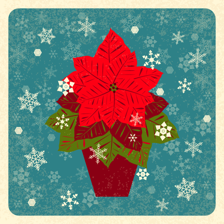 Poinsettia in a clay pot. Euphorbia pulcherrima. Vector illustration. New Year Christmas. Traditional symbols. Retro grunge background with snowflakes. Flat style